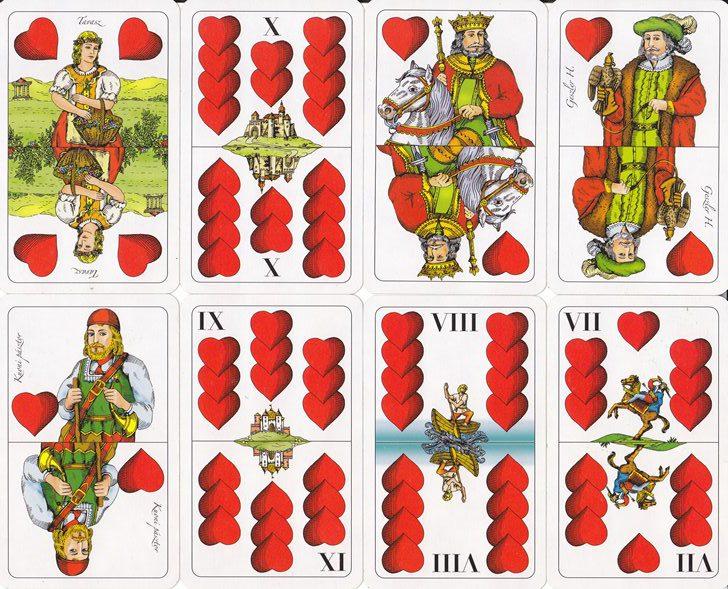 Ulti mondások lapkombináció: Az adu a piros, erősorrend itt is ász, tízes, király,...